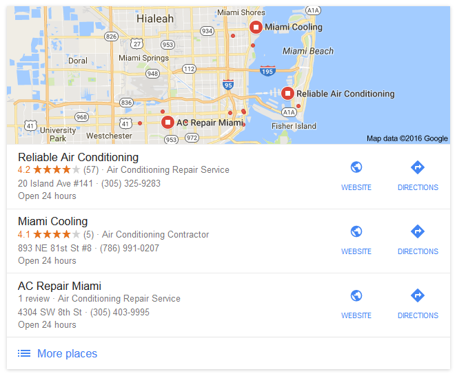 miami ac repair google local results and reviews