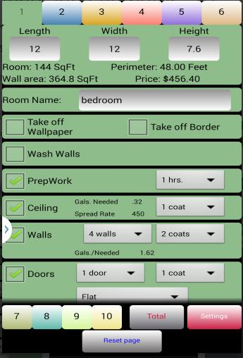 painting job estimator screenshot